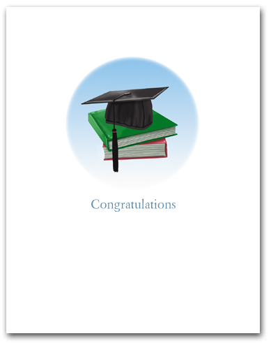 Small Circle with Graduation Mortar Board Books Congratulations Larger
