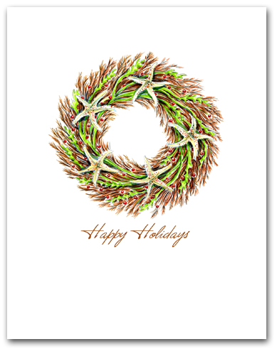Small Seaweed and Sea Star Wreath Happy Holidays Larger