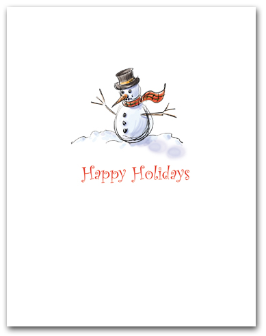 Small Snowman with Scarf Happy Holidays Larger