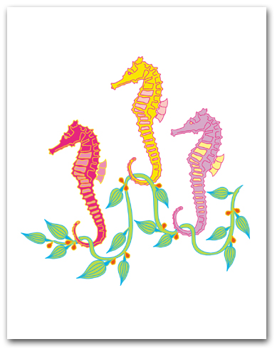 Three Medium Sea Horses Seaweed Larger