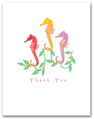 Three Small Sea Horses Seaweed Thank You Larger