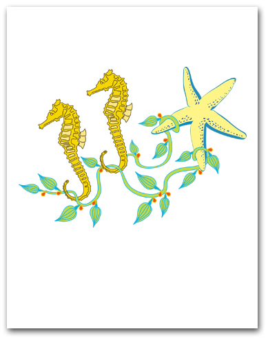 Two Sea Horses Seaweed Sea Star SIM35 Larger