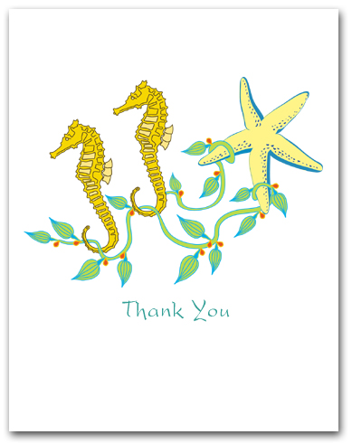 Two Sea Horses Seaweed Sea Star Thank You Larger