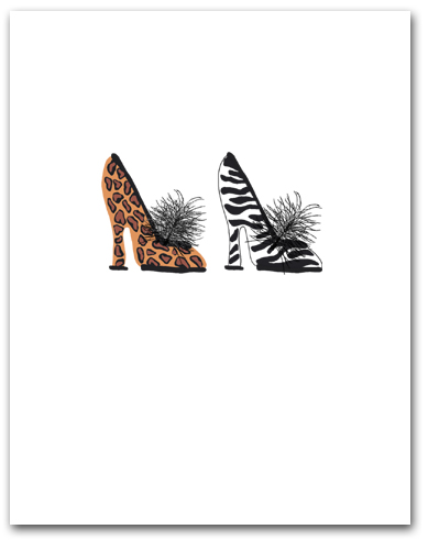 Two Woman�s High Heeled Shoes Leopard Zebra Patterns Larger