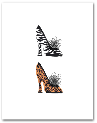 Two Woman�s High Heeled Shoes Leopard Zebra Patterns Stacked Larger