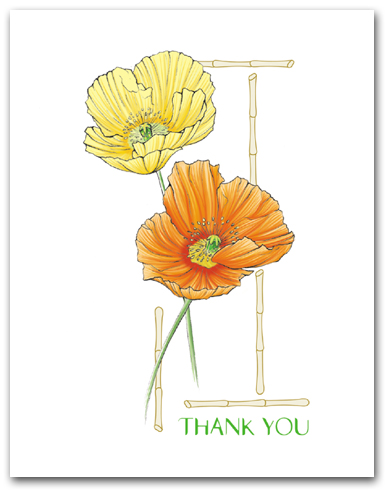 Two Yellow Orange Icelandic Poppies Thank You Larger