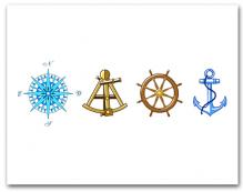 Blue Compass Rose Brown Sextant Brown Helm Wheel Blue Anchor