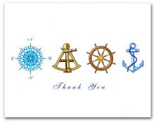 Blue Compass Rose Brown Sextant Brown Helm Wheel Blue Anchor Thank You