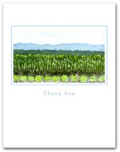 Field Planted Vegetables Crops Mountains Background Small Thank You Vertical