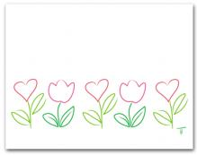 Five Simple Line Drawing Hearts and Tulip Row