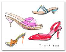 Four Colorful Straps High Heeled Woman�s Shoes Thank You