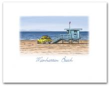 Lifeguard Tower Yellow Truck on Beach Manhattan Beach California Small Horizontal