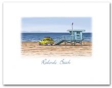 Lifeguard Tower Yellow Truck on Beach Redondo Beach California Small Horizontal