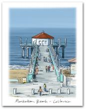 Manhattan Beach Pier California West Pacific Ocean Large Vertical
