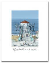 Manhattan Beach Pier California West Pacific Ocean Small Script Vertical