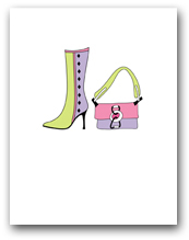 One Lavender Light Green Boot and Matching Purse