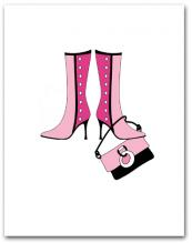 Pair Dark Light Pink Boots Dangling Matching Purse