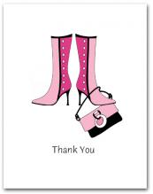 Pair Dark Light Pink Boots Dangling Matching Purse Thank You