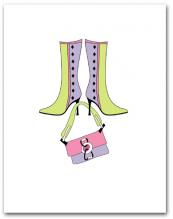 Pair Lavender Light Green Boots Dangling Matching Purse