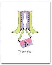 Pair Lavender Light Green Boots Dangling Matching Purse Thank You