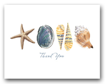 Sea Star Abalone Augers Whelk Row Thank You Horizontal
