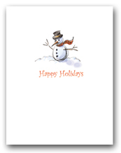 Small Snowman with Scarf Happy Holidays