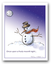 Snowman with Scarf Once Upon a Frosty Moonlit Night
