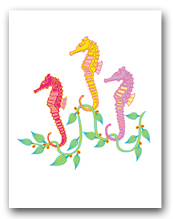 Three Medium Sea Horses Seaweed
