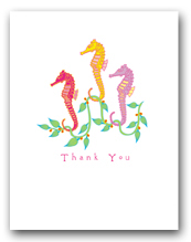 Three Small Sea Horses Seaweed Thank You