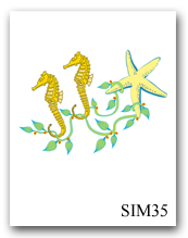 Two Sea Horses Seaweed Sea Star SIM35