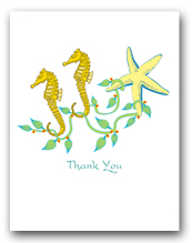 Two Sea Horses Seaweed Sea Star Thank You