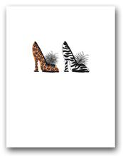 Two Woman�s High Heeled Shoes Leopard Zebra Patterns