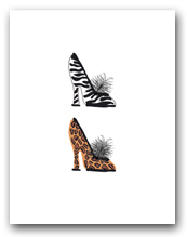 Two Woman�s High Heeled Shoes Leopard Zebra Patterns Stacked