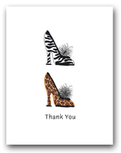 Two Woman�s High Heeled Shoes Leopard Zebra Patterns Stacked Thank You